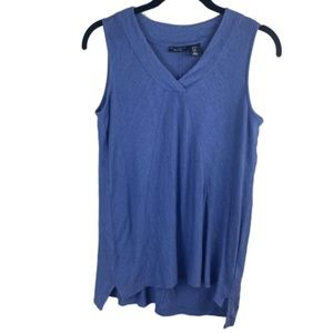 Willi Smith Linen Periwinkle Sleeveless V Neck Top